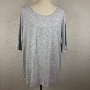 Lands End Gray Scoop Neck 3/4 Sleeve Blouse 2X